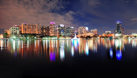 Orlando Lake Eola panorama with office buildings at night photo