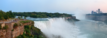 Niagara Falls sunrise panorama in the morning closeup photo