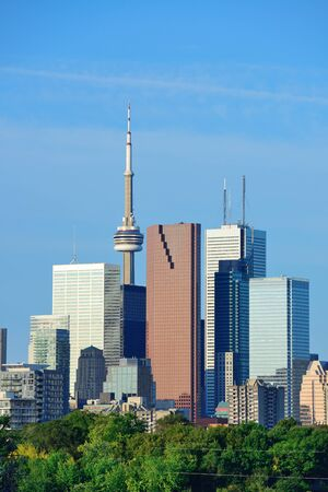 Toronto skyline over park with urban buildings and blue sky photo