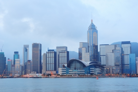 hong kong harbour: Hong Kong skyline in the morning over Victoria Harbour.