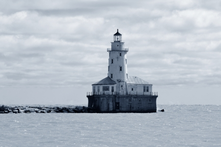 Light House of Chicago in Lake Michigan with cloud and blue sky. Stock Photo - 17400651