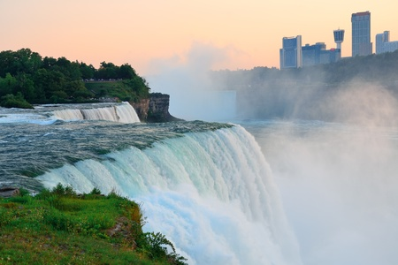 The American Falls from Niagara Falls closeup at dusk after sunset  photo