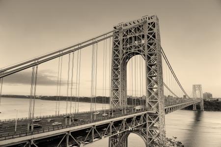 hudson river: George Washington Bridge black and white over Hudson River.