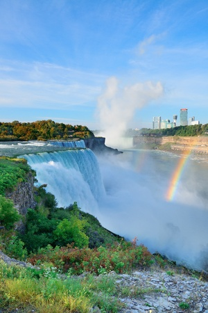 Niagara Falls in the morning with rainbow photo