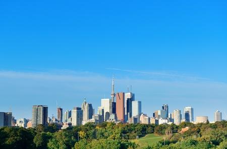 Toronto skyline over park with urban buildings and blue sky Stock Photo - 17398316