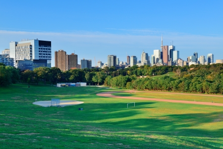 Toronto skyline over park with urban buildings and blue sky Stock Photo - 17397812