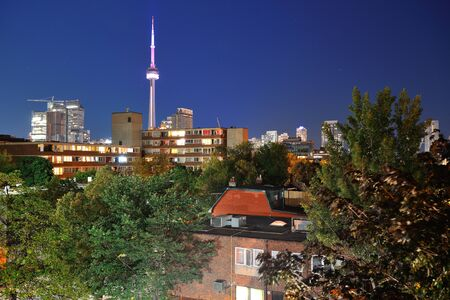 Toronto urban buildings over park with blue sky at night Stock Photo - 17398032