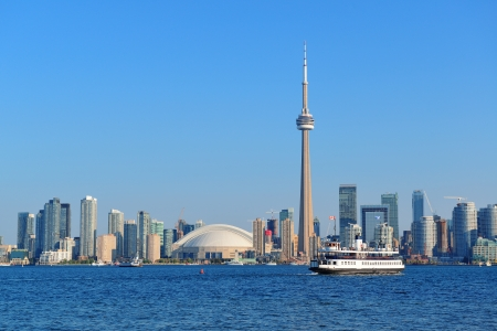 Toronto skyline panorama over lake with urban architecture. photo