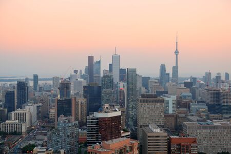 Toronto at dusk with city light and urban skyline with skyscrapers Stock Photo - 17400511