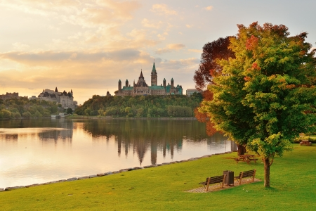 ontario: Ottawa city skyline at sunrise in the morning park view over river  Stock Photo