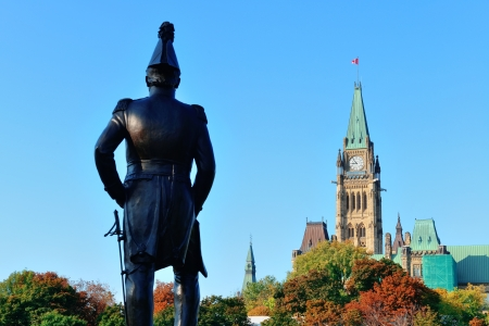 Statue and historical architecture in Ottawa, Canada. photo
