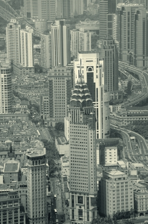 huangpu: Shanghai urban city aerial view with skyscrapers in black and white