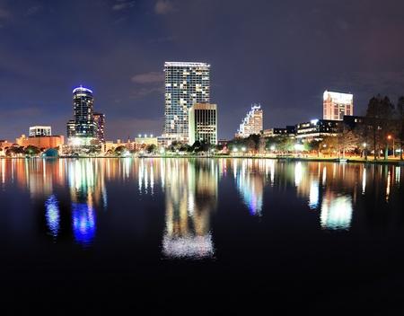 Orlando Lake Eola panorama with office buildings at night Stock Photo - 17400638