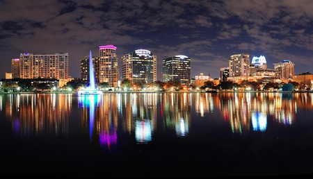Orlando Lake Eola panorama with office buildings at night Stock Photo - 17401085