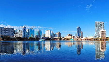 Orlando Lake Eola in the morning with urban skyscrapers and clear blue sky  Stock Photo - 17454544