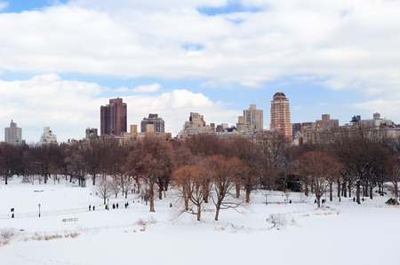 city park skyline: New York City Manhattan Central Park in winter with snow and city skyline with skyscrapers, blue cloudy sky  Stock Photo