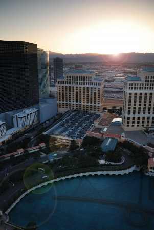 Las Vegas sunset with hotels. Viewed from top of Eiffel Tower Hotel. photo