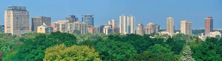 Toronto city skyline view with park and urban buildings photo