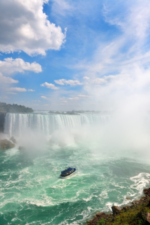 Boat and Horseshoe Falls from Niagara Falls photo