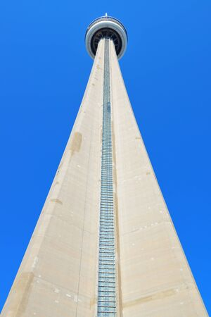 TORONTO, CANADA - JULY 2: CN Tower closeup on July 2, 2012 in Toronto. Buit in 1976 as the unique landmark of Toronto, it was world's tallest tower for 34 years Stock Photo - 17635492