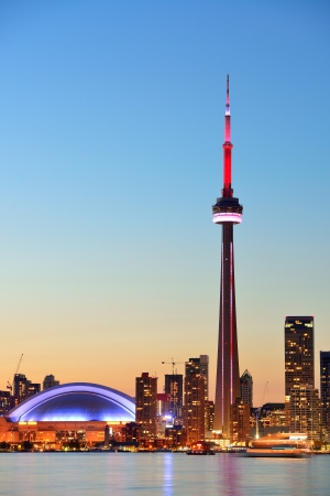 Toronto sunset over lake panorama with urban skyline. Stock Photo - 17642505