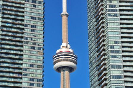 TORONTO, CANADA - JULY 2: CN Tower closeup on July 2, 2012 in Toronto. Buit in 1976 as the unique landmark of Toronto, it was world's tallest tower for 34 years Stock Photo - 17635447