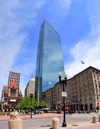 hancock building: Boston city street view with Hancock building in Coplay. Stock Photo