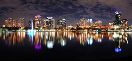 Orlando Lake Eola panorama with office buildings at night Stock Photo - 17636264
