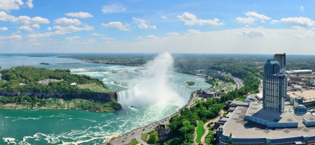 horseshoe falls: Horseshoe Falls aerial view panorama in the day with mist from Niagara Falls