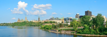 Ottawa cityscape panorama in the day over river with historical architecture. Stock Photo