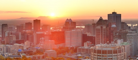 Montreal sunrise panorama viewed from Mont Royal with city skyline in the morning photo