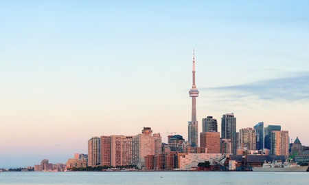 Toronto sunrise with sunlight reflection over lake in the morning Stock Photo - 17642463
