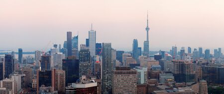 Toronto at dusk with city light and urban skyline with skyscrapers Stock Photo - 17642320
