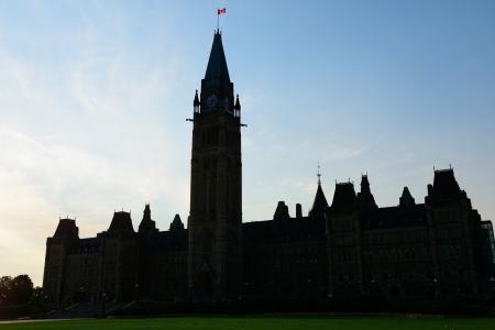 Parliament Hill Building silhouette in Ottawa, Canada photo