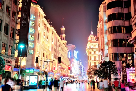 SHANGHAI, CHINA - MAY 28: Nanjing Road street night view on May 28, 2012 in Shanghai, China. Nanjing Road is 6km long as the world's longest shopping district with 1M visitors daily. Stock Photo - 17635401