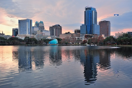 Orlando Lake Eola sunset with urban architecture skyline and colorful cloud Stock Photo - 17639723
