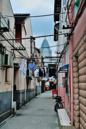 Old street in Shanghai with residential buildings photo