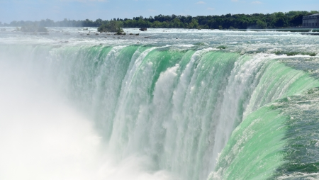 horseshoe falls: Horseshoe Falls closeup panorama in the day with mist Stock Photo