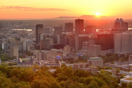 Montreal sunrise silhouette viewed from Mont Royal with city skyline in the morning photo