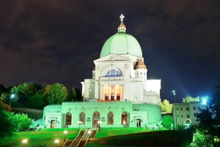 St. Josephs Oratory at night in Montreal in Canada photo