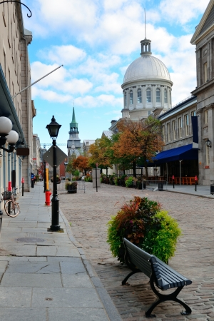 Bonsecours Market on street in Old Montreal in Canada