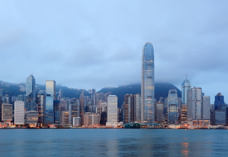 Hong Kong skyline in the morning over Victoria Harbour. photo