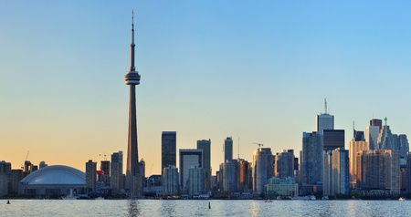 Toronto sunset over lake panorama with urban skyline  Stock Photo - 18045424