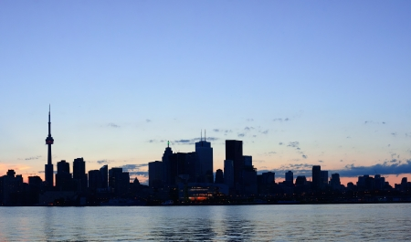 Toronto sunset over lake panorama with urban skyline  photo