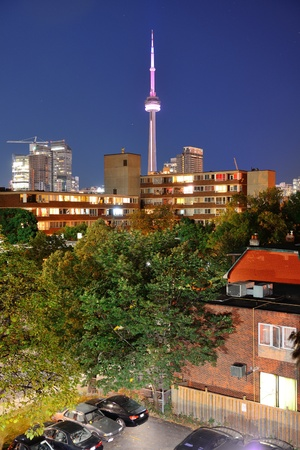 Toronto urban buildings over park with blue sky at night Stock Photo - 18045447