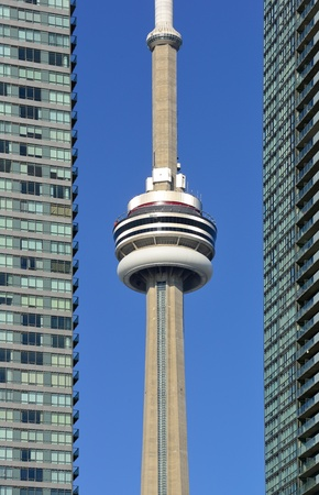 TORONTO, CANADA - JULY 2: CN Tower closeup on July 2, 2012 in Toronto. Buit in 1976 as the unique landmark of Toronto, it was world's tallest tower for 34 years Stock Photo - 18045449