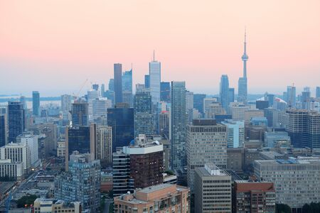 Toronto at dusk with city light and urban skyline with skyscrapers Stock Photo - 18040825