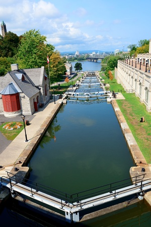 canal street: Rideau Canal and Ottawa city view