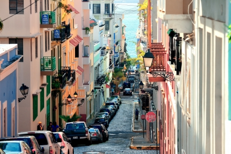 juan: SAN JUAN, PUERTO RICO - JAN 7: Old street in downtown on January 7, 2013 in San Juan, Puerto Rico. San Juan is the capital and most populous municipality in Puerto Rico.  Editorial