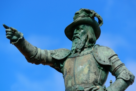 juan: Juan Ponce De Leon statue in old San Juan, Puerto Rico Stock Photo